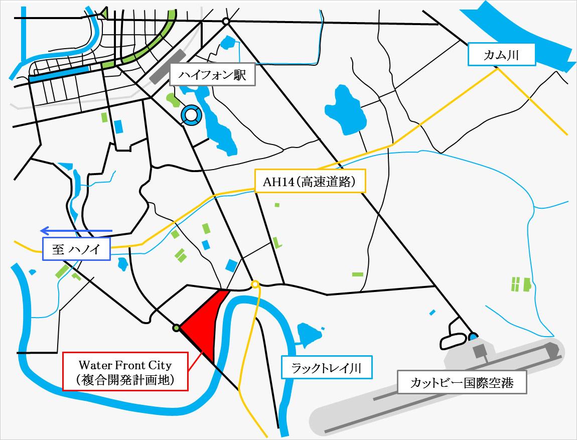 イメージ:ホテル・ニッコー・ハイフォン」(仮称)・複合開発計画地の地図