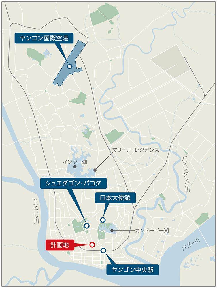 イメージ:「オークラ プレステージヤンゴン」(仮称)・広域図