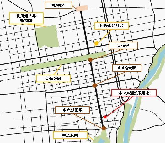 地図:「ホテルJALシティ札幌 中島公園」