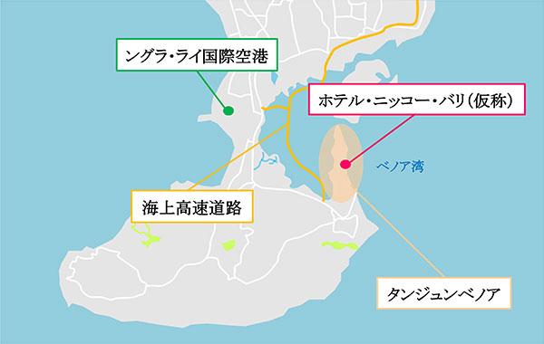 地図:「ホテル・ニッコー・バリ」(仮称)
