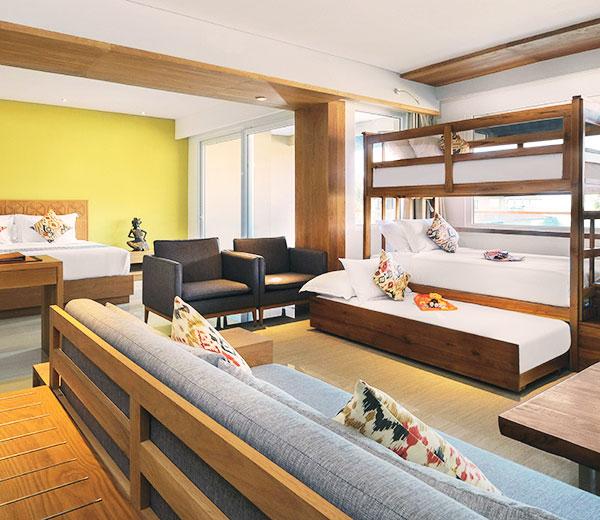 ファミリールームで快適に:ホテル・ニッコー・バリ べノア ビーチ